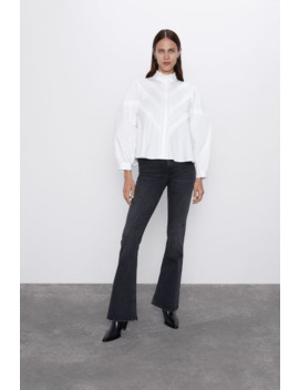 Lace Trim Poplin Blouse by Zara