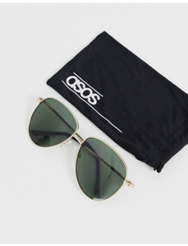 Asos Design Metal Aviator Sunglasses In Gold With G15 Lens In Gold by Asos Design