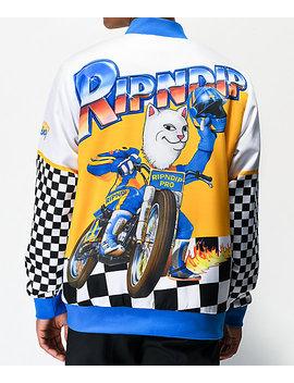 Ripndip Speed Racing White Varsity Jacket by Ripndip