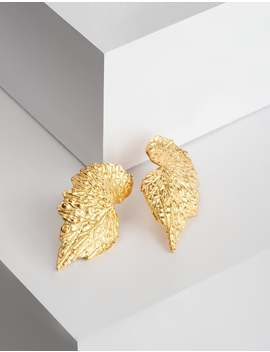 Gold Leaf Design Earrings. 18 Kgp. Boho Stud Earrings. Delicately Handmade. Floral Studs. Leaf Studs. Boho Style. by Etsy