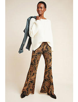 Viviana Jacquard Flared Trousers by Anthropologie