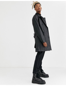 Asos Design Leather Double Breasted Trench Coat In Black by Asos Design