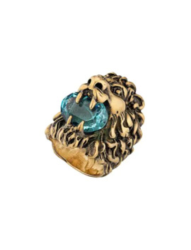 Embellished Lion Head Ring by Gucci