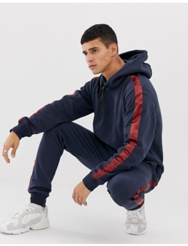 Jack & Jones Originals Side Stripe Hooded Sweat In Navy by Jack & Jones