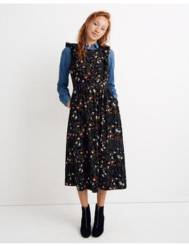 Corduroy Ruffle Front Dress In Finch Floral by Madewell