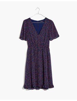 Flutter Sleeve Ruffle Hem Dress In Sugar Dot by Madewell