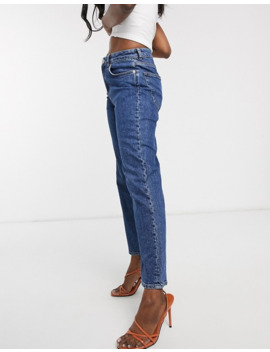 Asos Design High Rise Stretch 'slim' Straight Leg Jeans In Mid Vintage Wash by Asos Design