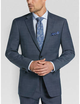 Tommy Hilfiger Blue Windowpane Slim Fit Suit by Tommy Hilfiger