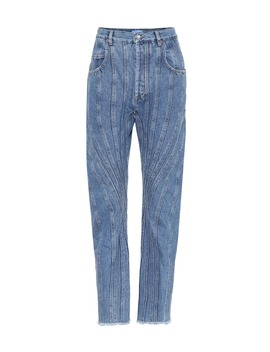 Paneled High Rise Jeans by Mugler