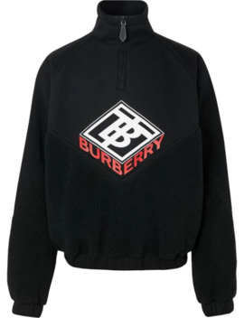 Logo Graphic Neoprene Funnel Neck Track Top by Burberry