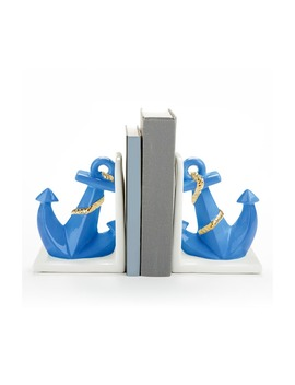 Set Of 2 Ceramic Anchor Bookends by Baby Aspen