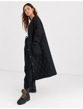 Черное легкое стеганое пальто Weekday by Weekday