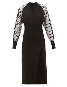 High Neck Polka Dot Sleeve Crepe Dress by Balmain