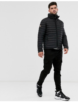 Superdry Fuji Double Zip Puffer Jacket In Black by Superdry