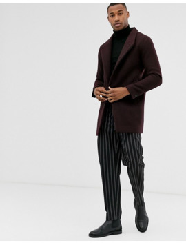 Jack & Jones Premium Funnel Neck Wool Overcoat In Burgundy by Jack & Jones