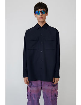 Oversized Wool Blend Shirt Navy Blue by Acne Studios