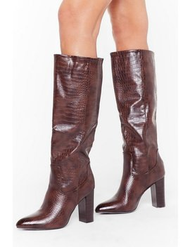 Faux Croc Heeled Knee Boots by Nasty Gal