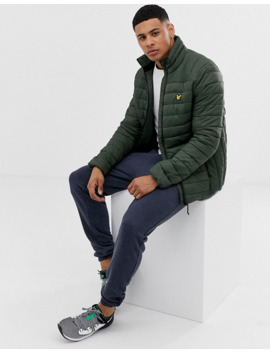 Lyle & Scott Fitness Quilted Logo Puffer Jacket In Khaki by Lyle & Scott