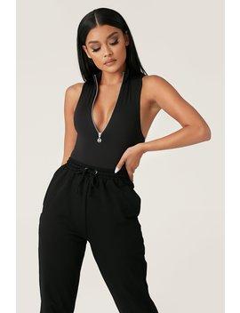 Paulina Sleeveless High Neck Zip Bodysuit   Black by Meshki
