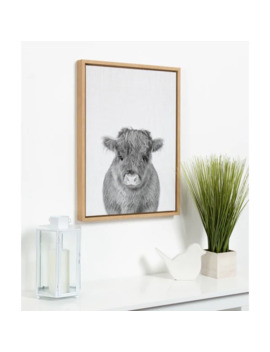 Kate And Laurel Sylvie Baby Cow Framed Canvas By Simon Te Tai   18x24 by Kate And Laurel