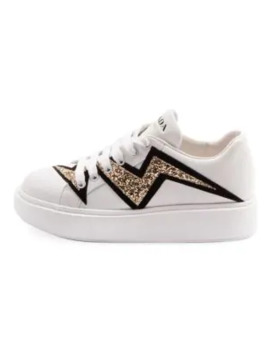 Platform Low Top Glitter Leather Sneakers by Prada