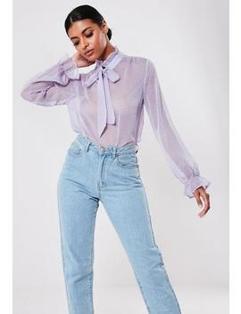 Lilac Polka Dot Pussy Bow Blouse by Missguided