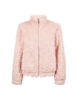 Blush Short Teddy Zip Coat by Dorothy Perkins