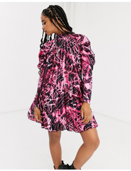 Asos Design Pleated Mini Dress In Graffiti Print by Asos Design