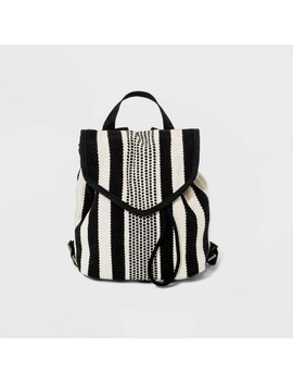 Striped Pointed Flap Backpack   Universal Thread™ Black/White by Universal Thread