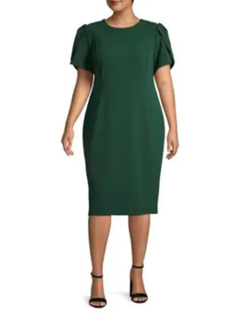 Plus Puffed Sleeve Knee Length Dress by Calvin Klein