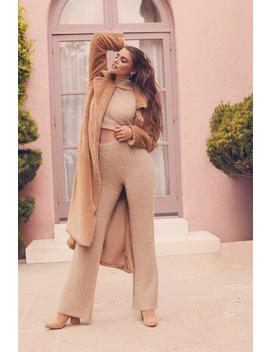 Fluffy Cropped Roll Neck Trouser Set by Boohoo