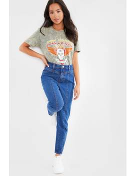 Indigo Seam Detail Mom Jeans by In The Style