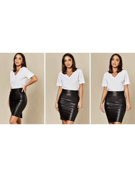 Faux Leather Pencil Skirt In Black by Vm