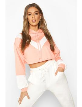 Colour Block V Front Crop Hoodie by Boohoo