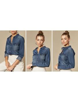 Medium Blue Slim Fit Denim Shirt by Vm