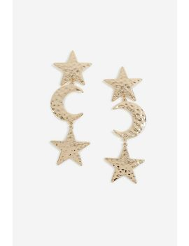 **Gold Star And Moon Drop Earrings by Topshop