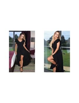 Celine Wrap Off The Shoulder Frill Dress Black by Missfiga