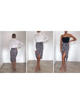 Aria Wrap Midi Skirt Leopard by Pretty Lavish