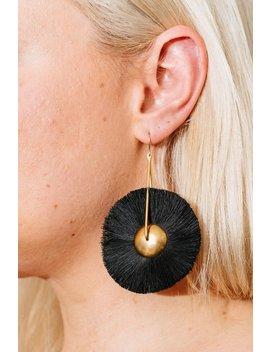 The Salt Empire Mawu Hoop Earrings   Gold/Black Tassel by Garmentory