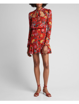 Morgana Floral Long Sleeve Tie Neck Dress by Alexis