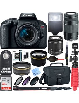 Canon Eos Rebel T7i Dslr Camera (1894 C002) + 18 55mm Is Stm & 75 300mm Iii Lens Kit + Accessory Bundle 32 Gb Sdhc Memory + Dslr Photo Bag + Wide Angle Lens + 2x Telephoto Lens + Flash + Remote + Tripo by Canon