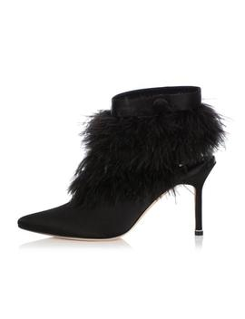 Black Oterala Feather Trimmed Satin Boots/Booties by Manolo Blahnik
