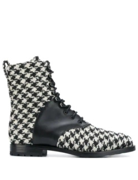 Houndstooth Pattern Boots by Manolo Blahnik