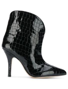Croc Effect Ankle Boots by Paris Texas