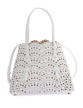 Mina Small Lux Laser Cut Tote Bag by Alaia