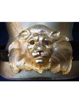 Christopher Ross Incredible Massive 24k Gold Plated Lion Buckle Snakeskin Belt C 1980s by Etsy