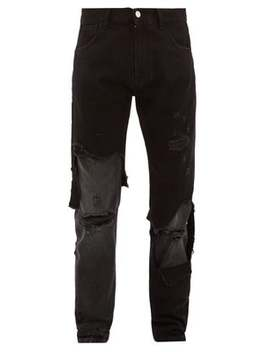 Distressed Slim Leg Jeans by Raf Simons