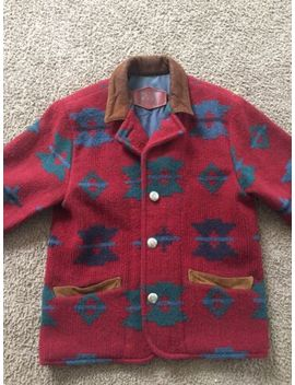 Woolrich Red Blanket Jacket Womens Small Wool Blend South West Aztec by Woolrich