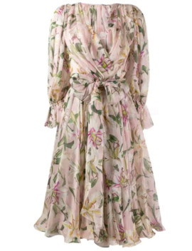 Midikleid Mit Blumen Print by Dolce & Gabbana