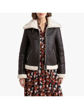 Faux Leather Aviator Jacket With Faux Sheepskin Lining by La Redoute Collections